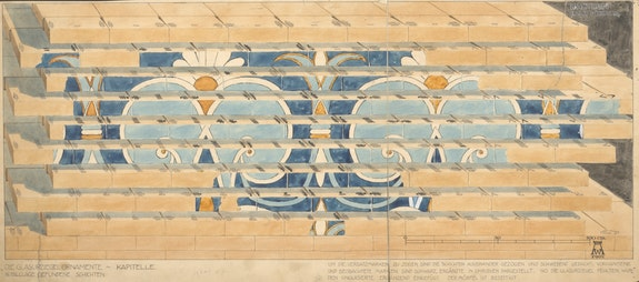 Walter Andrae, Partial reconstruction of the throne room façade from Nebuchadnezzar II's Southern Palace showing fitters' marks on bricks, 1901 CE. Watercolor on paper. © Deutsche Orient-Gesellschaft, Archiv. Photo: Olaf M. Teßmer.