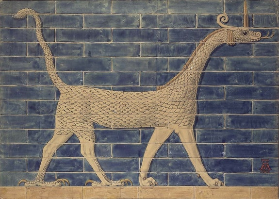 Walter Andrae, Reconstruction of bricks with a mushussu-dragon from the Ishtar Gate, 1902 CE. Watercolor and graphite on board.© Staatliche Museen zu Berlin - Vorderasiatisches Museum. Photo: Olaf M. Teßmer.