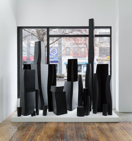 Thomas Kovachevich, <em>Solid Geometry</em>, 2013. Corrugated plastic, 96 x 96 x 54 inches. (Thirty-five individual sculptures). Courtesy Callicoon Fine Arts, New York.