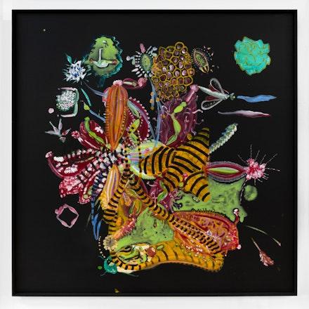 Thomas Kovachevich,<em> Surprise</em>, 2017, Acrylic on black corrugated cardboard, artist frame, 48 x 48 inches, 121.9 x 121.9 cm. Photo Adam Reich. Courtesy of Callicoon Fine Arts, New York