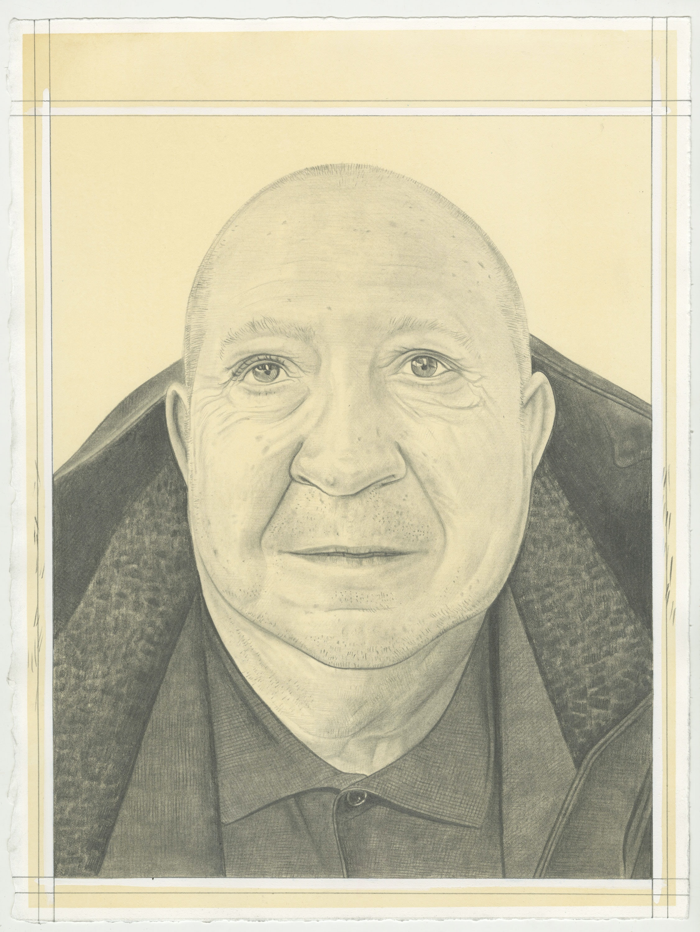 Portrait of Christian Boltanski, pencil on paper by Phong H. Bui.