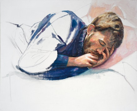Y.Z. Kami, <em>Gilles Sleeping</em>, 1985. Oil on canvas, 22 x 27 inches. © Y.Z. Kami. Courtesy the artist and Gagosian.