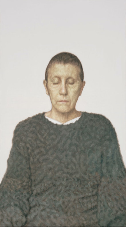 Y.Z. Kami, <em>Untitled (Woman in a Green Sweater)</em>, 2006. Oil on canvas, 132 x 74 inches. © Y.Z. Kami. Courtesy the artist and Gagosian. Collection Thomas Gibson, London. Photo: Robert McKeever.