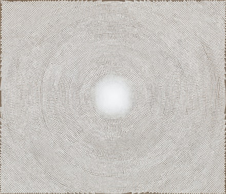 Y.Z. Kami, <em>White Dome IV</em>, 2012-2013. Dye and acrylic on linen, 54 x 63 inches. © Y.Z. Kami. Courtesy the artist and Gagosian. Photo: Robert McKeever.