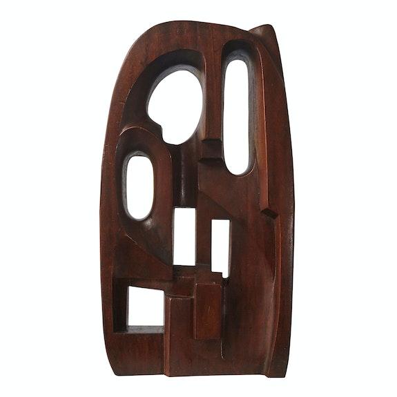 Saloua Raouda Choucair, Interform, 1960. Wood, 23 5/8 x 12 5/8 x 4 1/2 inches. Collection of the Barjeel Art Foundation, Sharjah, UAE.