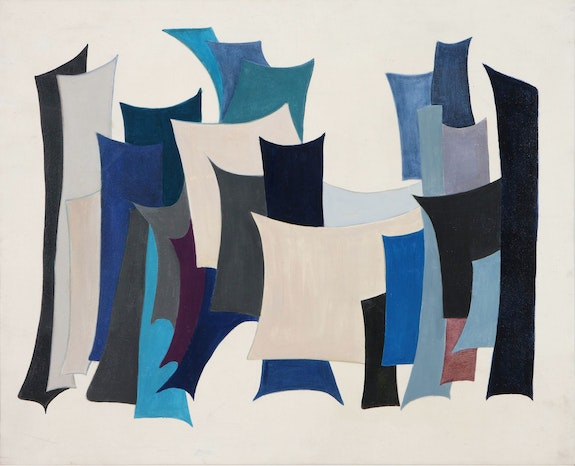 Huguette Caland, City II, 1968. Oil on canvas, 31 1/2 x 39 3/8 inches. Collection of the Barjeel Art Foundation, Sharjah, UAE.