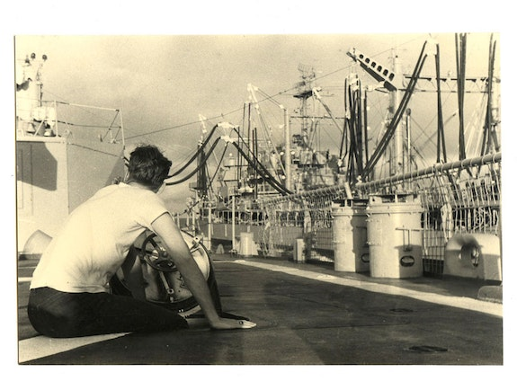 Alvin Baltrop, The Navy (man sitting on deck, looking away), n.d. (1969-1972). Gelatin silver print, 4 1/2 x 6 3/4 inches. Courtesy The Alvin Baltrop Trust, © 2010, Third Streaming, NY, and Galerie Buchholz, Berlin/Cologne/New York.