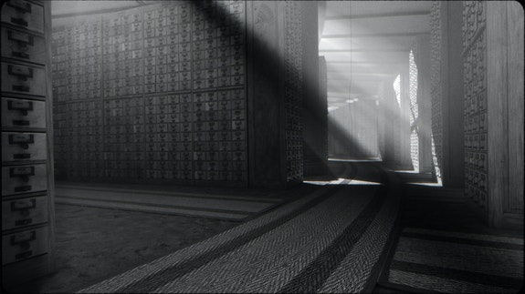 Fiona Tan, Archive, 2019. High definition video installation, 3-D animation, black and white, mono HD projector, media player, Rosco projection paint, and projector mount, 5 min. 45 sec. loop. Courtesy Peter Freeman Inc.