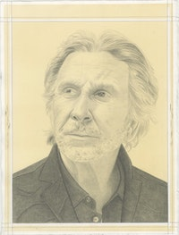 Portrait of Bernar Venet, pencil on paper by Phong Bui.