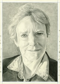 Portrait of Eleanor Heartney, pencil on paper by Phong H. Bui.