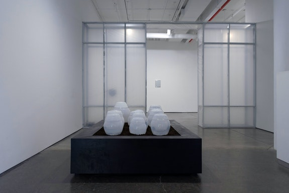 Installation view: <em>Jesse Chun and Tiffany Jaeyeon Shin: stain begins to absorb the material spilled on</em>, DOOSAN Gallery, New York, 2020. Courtesy Jesse Chun and Tiffany Jaeyeon Shin.