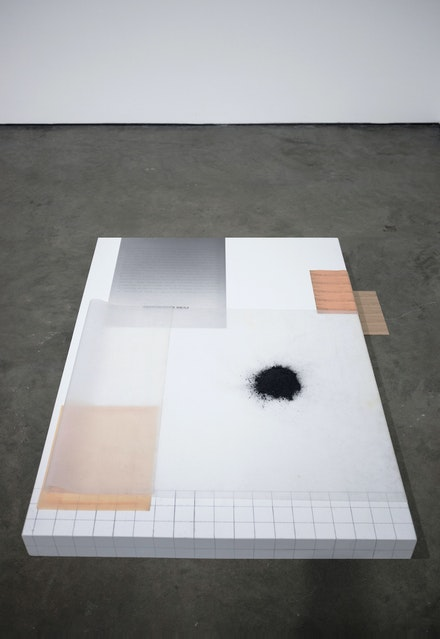 Jesse Chun, <em>if you weren't saying anything</em>, 2020. Silicone, etched latex, wood, pigment print, graphite powder, envelope. 45 x 30 x 3 inches. Courtesy the artist.