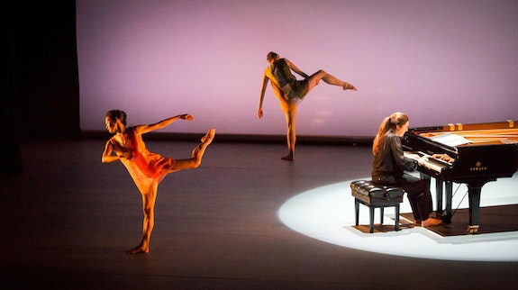 Pictured (L to R): Maile Okamura, Maggie Cloud, and Simone Dinnerstein in <em>New Work for Goldberg Variations </em>at The Joyce Theater, Dec. 10-15, 2019.  Photo: Marina Levitskaya.
