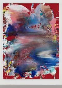 Jackie Saccoccio, <em>Tempest (Concave)</em>, 2019. Oil and oil pastel on linen, 130 x 94 inches. Exhibited at CHART. Courtesy the artist and Van Doren Waxter.
