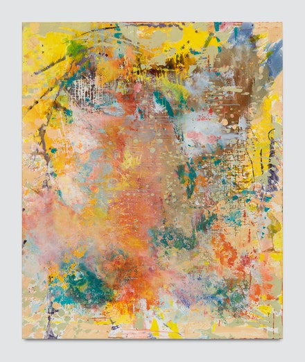 Jackie Saccoccio, <em>Source (Concave)</em>, 2019. Oil and mica on linen, 79 x 65 inches. Exhibited at Van Doren Waxter. Courtesy the artist and Van Doren Waxter.