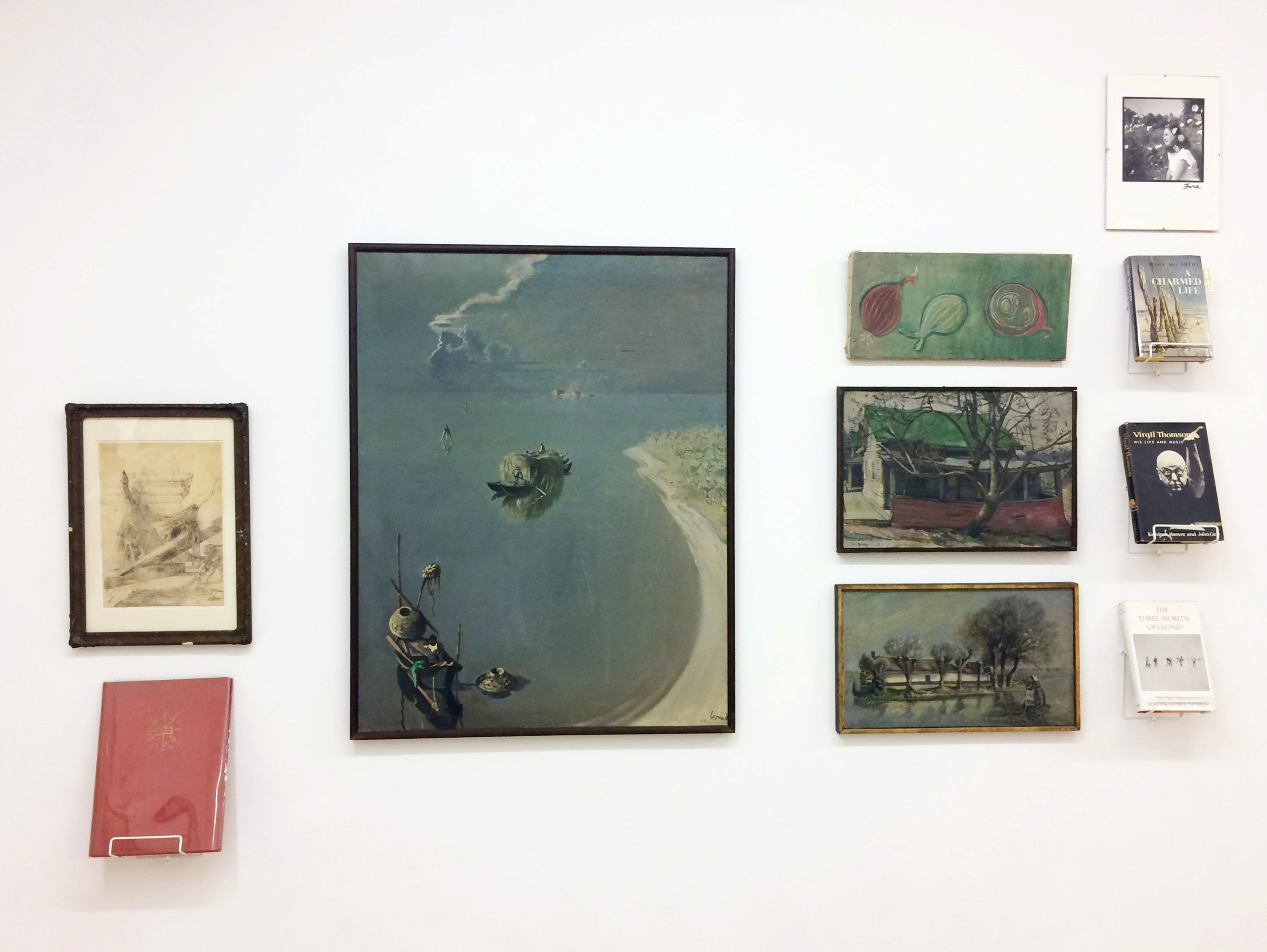 Installation view: <em>Acquired on eBay (and from other surrogate sources)</em>, Mitchell Algus Gallery, 2020. Pictured: Eugene Berman, Leonid (Berman), Mary Meigs, Maurice Grosser, Mary McCarthy. Courtesy Mitchell Algus.