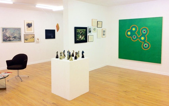 Installation view: <em>Acquired on eBay (and from other surrogate sources)</em>, Mitchell Algus Gallery, 2020. Pictured: Elaine de Kooning, Paul Jenkins, Aline Meyer Liebman, Nicolas Rule, Steve Keister, Stephen Kaltenbach, Darrel Austin, Bernard Perlin, Edward Avedisian. Courtesy Mitchell Algus.