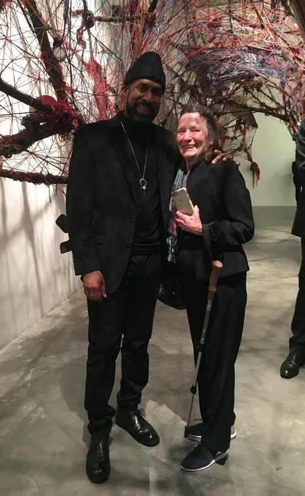 Emily Mason with her former student, Nari Ward, at the New Museum, 2019.