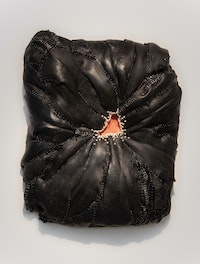 Doreen Garner, <em>After Her Tomb</em>, 2020. Urethane foam, silicone, steel pins, pearls, 27 x 23 1/2 x 7 1/4 inches. Courtesy the artist and JTT, New York.
