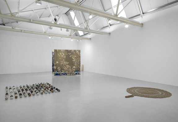 Installation view: <em>CONDO - With greengrassi and Hot Wheels (Athens)</em>, Corvi-Mora, London, 2020. With work by Adam Buick, Juha Pekka Matias Laakkonen, and  Pae White. Courtesy the artists, Corvi-Mora, London, and greengrassi, London.
