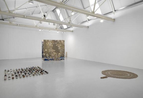 Installation view: <em>CONDO - With greengrassi and Hot Wheels (Athens)</em>, Corvi-Mora, London, 2020. With work by Adam Buick, Juha Pekka Matias Laakkonen, and  Pae White. Courtesy the artists, Corvi-Mora, London, and greengrassi, London.