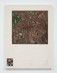 Josephine Halvorson, <em>Ground Register: Rake/Chart</em>, 2019. Gouache and site material on panel, 42 x 32 inches. © Josephine Halvorson, courtesy of Sikkema Jenkins & Co., New York.