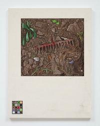 Josephine Halvorson, <em>Ground Register: Rake/Chart</em>, 2019. Gouache and site material on panel, 42 x 32 inches. © Josephine Halvorson, courtesy of Sikkema Jenkins & Co., New York.