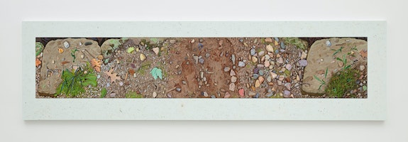 Josephine Halvorson, <em>Ground Panorama: Boundary Marker</em>, 2019. Gouache and site material on panel, 36 x 132 inches. © Josephine Halvorson, courtesy of Sikkema Jenkins & Co., New York.
