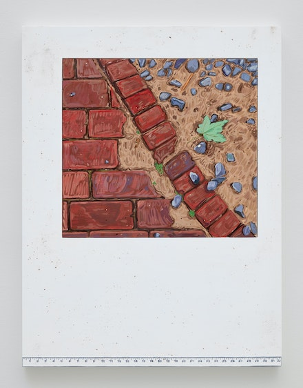 Josephine Halvorson, <em>Ground Register: Bricks/Ruler</em>, 2019. Gouache and site material on panel, 42 x 32 inches. © Josephine Halvorson, courtesy of Sikkema Jenkins & Co., New York.