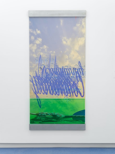 Catherine Telford Keogh, <em>Infinite Dreamscape with Paraphernalia Corroded and Distilled Gracefully</em>, 2020. Plexiglas, Palmolive® Essential Clean Dishwashing Liquid, Digital Print on Vinyl, Custom Steel Brackets, 76 x 36 x 1.5 inches. Courtesy the artist and Helena Anrather, New York. Photo: Sebastian Bach.