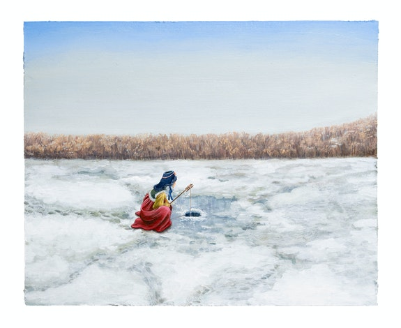 Sally J. Han, <em>Ice Fishing</em>, 2019. Acrylic paint on paper mounted on wood panel, 20 x 16 inches. Courtesy the artist and Fortnight Institute, NYC.