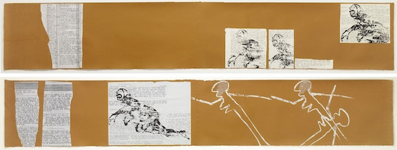 Nancy Spero, <em>Torture of Women III</em>, 1976, Cut-and-pasted typed text, painted paper, gouache, and handprinting on paper, 14 panels, 20 in x 125 ft (51 x 3,810 cm) overall © Nancy Spero and Leon Golub Foundation for the Arts/Licensed by VAGA at Artists Rights Society (ARS), NY. Photo: Courtesy Galerie Lelong & Co.