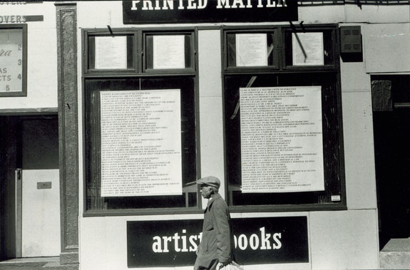 Window Installation by Jenny Holzer at Printed Matter's Lispenard Street location, 1979. Photo: Nancy Linn.