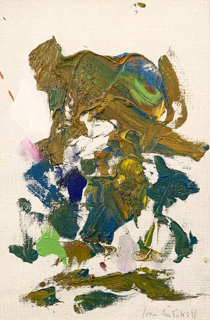 Joan Mitchell, Untitled, 1991. Oil on canvas, 14 x 8 5/8 inches. Courtesy Gazzeli Art House. Photo: Deniz Guzel.