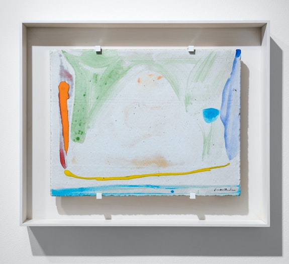 Helen Frankenthaler, <em>Thanksgiving day</em>, 1973. Unique painting on ceramic tile, 13 1/2 × 17 1/2 × 7/10 inches. Courtesy Gazelli Art House. Photo: Deniz Guzuel.