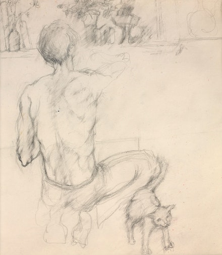 Elaine de Kooning, <em>Frank O'Hara in George Segal's Studio with a Cat</em>, c.1970. Graphite on paper, 10 x 8 inches. Courtesy Gazelli Art House. Photo: Deniz Guzuel.</em>