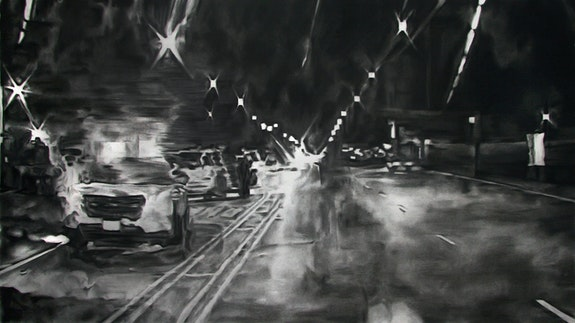 Shaun Leonardo, <em>Laquan McDonald (drawing 1)</em>, 2016. Charcoal on paper, 30 x 52 inches. Courtesy the artist.