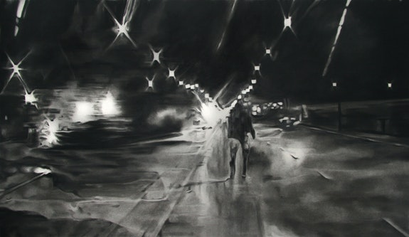Shaun Leonardo, <em> Laquan McDonald (drawing 2)</em>, 2016. Charcoal on paper, 30 x 52 inches. Courtesy the artist.