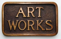 Stephen Kaltenbach, <em>ART WORKS (Sidewalk Plaque)</em>, 1968. Bronze, 5 x 8 inches, approximately. Edition of 100. Courtesy the artist.