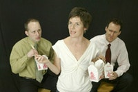 <i>13P's production of The Internationalist, by Anne Washburn. Left to right: Travis York, Kristen Kosmas, Gibson Frazier. Photo by Carol Rosegg.</i>