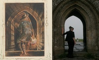 William Blake, <em>Frontispiece, Jerusalem the Emanation of the Giant Albion</em> (c. 1821, Copy E)Illuminated printing, Yale Center for British Art (left); Pilgrim inside the Tower of St. Michael, Glastonbury (2012). Photo: Chiara Ambrosio (used with permission)