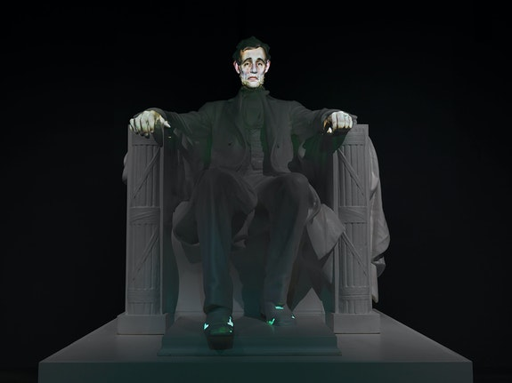 Krzysztof Wodiczko, <em>A House Divided</em>..., 2019. 4K video projection on sculpture, figure height: 98 1/2 inches, pedestal: 27 1/2 x 94 x 95 inches. © Krzysztof Wodiczko. Courtesy Galerie Lelong & Co., New York.