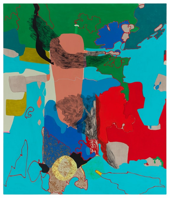 Candida Alvarez, <em>A Wing, A Halo</em>, 2019. Acrylic on linen, 80 x 68 inches. Collection of Beth DeWoody. Photo: Tom Van Eynde.