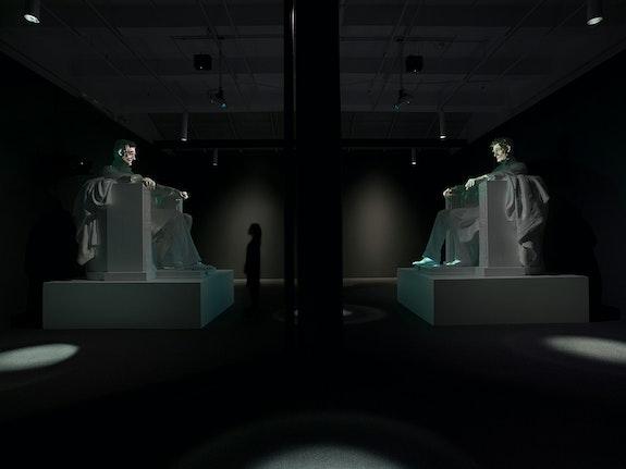 Installation view: Krzysztof Wodiczko: <em>A House Divided...</em>, Galerie Lelong & Co., New York, 2020. © Krzysztof Wodiczko. Courtesy Galerie Lelong & Co., New York.