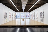 Installation view: <em>Merlin Carpenter: Paint-it-Yourself</em>, Reena Spaulings Fine Art, New York, 2020. Courtesy the artist and Reena Spaulings Fine Art, NY/LA. Photo: Joerg Lohse.