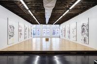 Installation view: <em>Merlin Carpenter: Paint-it-Yourself</em>, Reena Spaulings Fine Art, New York, 2020. Courtesy the artist and Reena Spaulings Fine Art, NY/LA. Photo: Joerg Lohse.