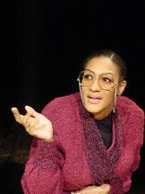 <i>Sarah Jones in bridge & tunnel at the 45 Bleecker St. Theatre. Photo by Brian Michael Thomas.</i>