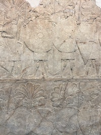 "Detail of wall slab from Sennacherib's ""Palace without Rival"" at Nineveh, now in the British Museum."