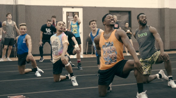 At practice with the Novarro College cheer squad (La'Darius Marshall at front). Photo: courtesy of Netflix.