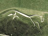 Satellite view of Uffington White Horse, Oxfordshire, England. Image in the public domain.